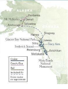 Cruise Alaska, Inside Passage Cruise plus Denali National Park Fairbanks to Ketchikan, Alaska or reverse.
