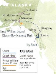 Cruise Alaska Glacier Bay Highlights Cruise plus Denali National Park and Prince William Sound Cruise Fairbanks to Juneau.