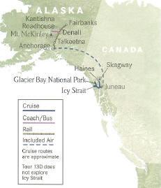 Cruise Alaska Glacier Bay Highlights Cruise plus Extraordinary Wilderness Lodges Fairbanks to Juneau, Alaska.