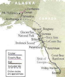 Gold Rush Inside Passage + Cruise 15 Days, 14 Nights Seattle to Fairbanks or Reverse